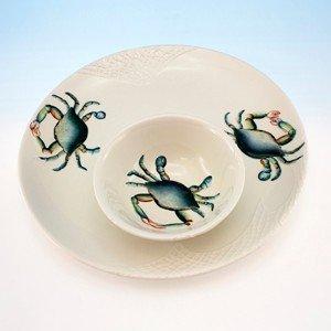Blue Crab Design Ceramic Round Chip and Dip