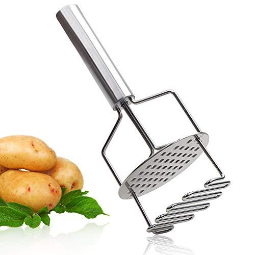 Dual-Press Potato Masher Stainless Steel Potato Ricer Press Premium Heavy Masher Ricer Tool for Mashing Baby Food Vegetable Fruits and Kitchen Baking