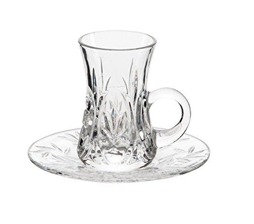 Turkish Tea Cup Saucer Set With Handles 12 Pieces