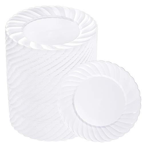 BUCLA 100PCS White Plastic Plates-66inch Disposable DessertSalad Plates-Premium Plastic Plates For Wedding&Parties