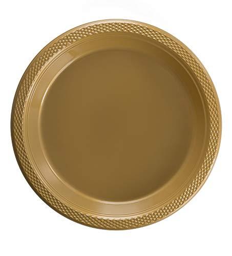 Exquisite 7 Inch Gold Plastic DessertSalad Plates - Solid Color Disposable Plates - 50 Count