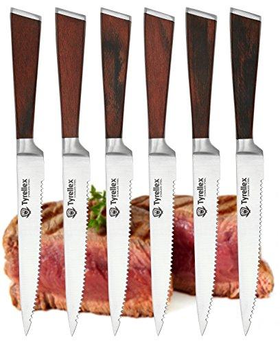 Tyrellex Steak Knives  Premium Steak Knife Set 6 Pieces and Wood Gift Box