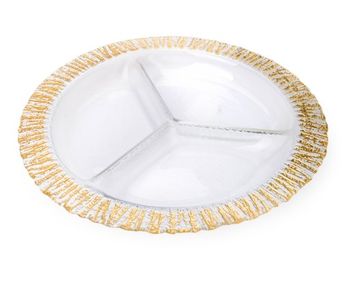 Classic Touch CDD627 Trophy Collection Gold-Scalloped Relish Dish