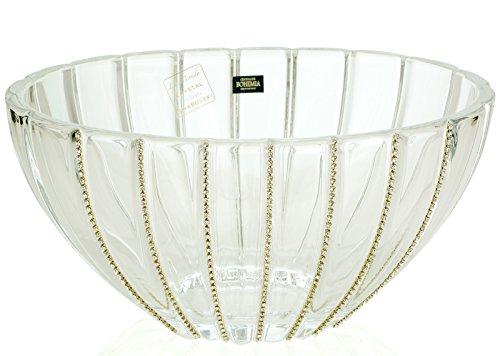 12-Inch Swarovski Jeweled Crystal Vase Decorative Wedding Centerpiece Fruit Bowl Inlaid with Crystals
