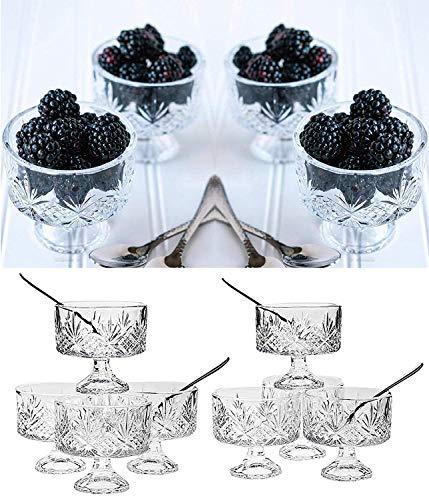 Crystal Dessert Bowls 16-Pc Trifle Tasting Set Dessert Ice Cream Fruit Bowls