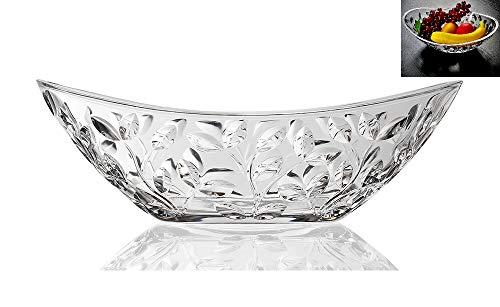 Elegant Crystal Serving Oval Bowl with Beautiful leaf design Centerpiece For HomeOfficeWedding Decor Fruit Snack Dessert Server