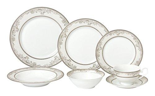 Lorren Home Trends 28 Piece Juliette Bone China Dinnerware Set Service for 4 People Silver