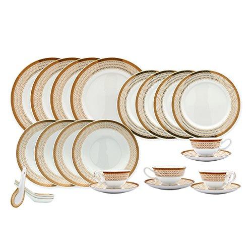TransSino Treasures Bone China 24 Piece Dinnerware Set Diamonds and Gold Border Service for 4
