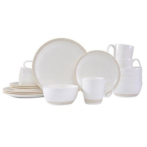 WHITEPEONY Sparkle Decal 16-Piece Bone China Dinnerware Set Service for 4