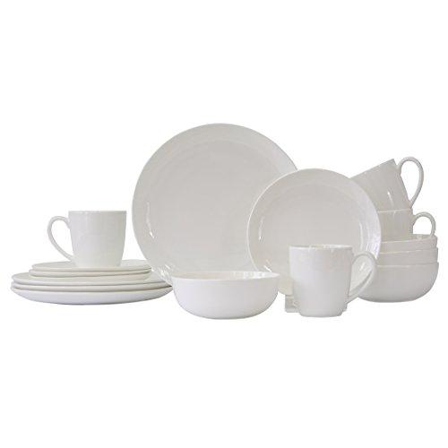 WHITEPEONY Swirl Embossed 16-Piece Bone China Dinnerware Set Service for 4