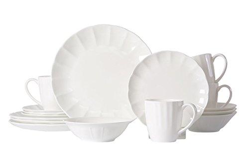 WhitePeony Petal 16-Piece Classic Durable Scallop Bone China Dinnerware Set Elegant Service for 4