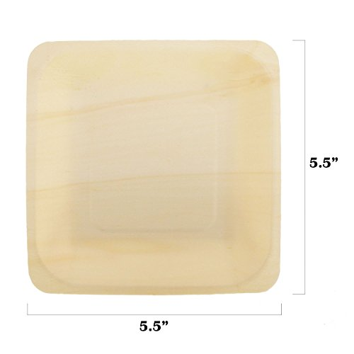 BambooMN Brand - 55 x 55 x 078 Disposable Wood Square Plates  Dishes 25 Pieces