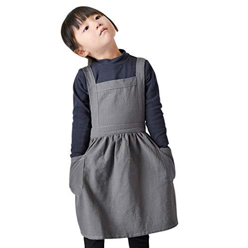 Freahap Kids Aprons Pinafore Girls Vintage Apron Cotton Linen Aprons Adjustable Gray S
