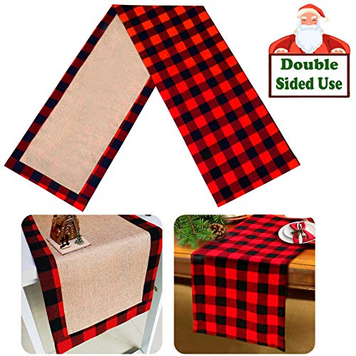 Senneny Christmas Table Runner Burlap Cotton Red Black Plaid Reversible Buffalo Check Table Runner for Christmas Holiday Birthday Party Table Home Decoration 14 x 72 Inch
