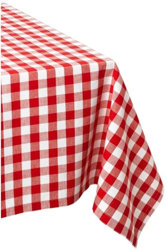 DII 60x84 Rectangular Cotton Tablecloth Red White Check - Perfect for Spring Summer Christmas Farmhouse Décor Picnics Potlucks or Everyday Use
