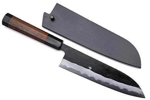 Yoshihiro Mizu Yaki Aogami Super Blue High Carbon Steel Kurouchi Santoku Chefs Knife 7 180mm Saya