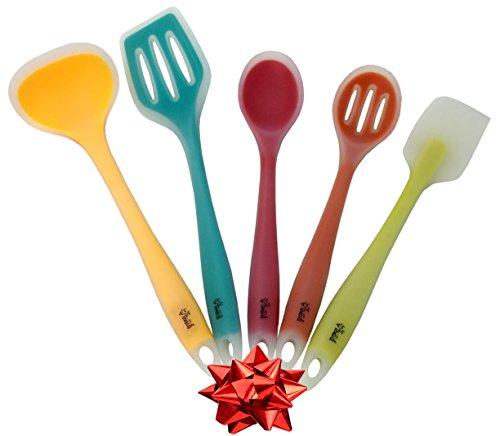 Premium Silicone Kitchen Utensil Set New 5 Piece Cute Cooking Tool Set By YumYum Utensils