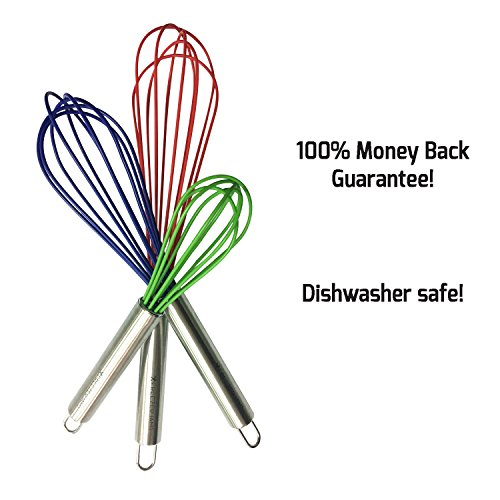 Stainless Steel and Silicone Whisks Set of 3 by FreezerJamsNon-Stick Hand-Held Utensils for Cooking Baking in 3 SizesHeat Resistant Kitchen Tools for the Modern CookDishwasher Safe Colorful