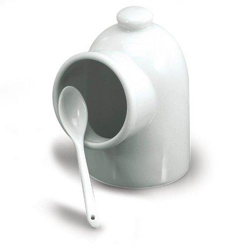 BIA Cordon Bleu White Porcelain 5 inch Salt Pig With Spoon