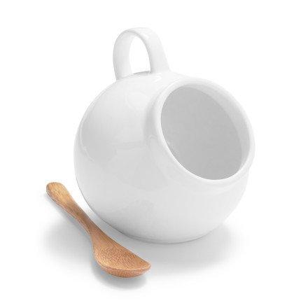 Sur La Table Porcelain Salt Cellar with Wooden Spoon