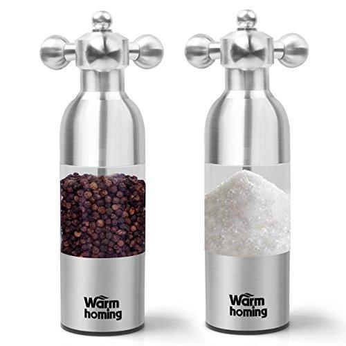 Salt and Pepper Grinder Set - Warmhoming Stainless Steel Pepper Mill Salt Mill - Granule Size Adjustable Pepper Grinder Salt Grinder - Set of 2