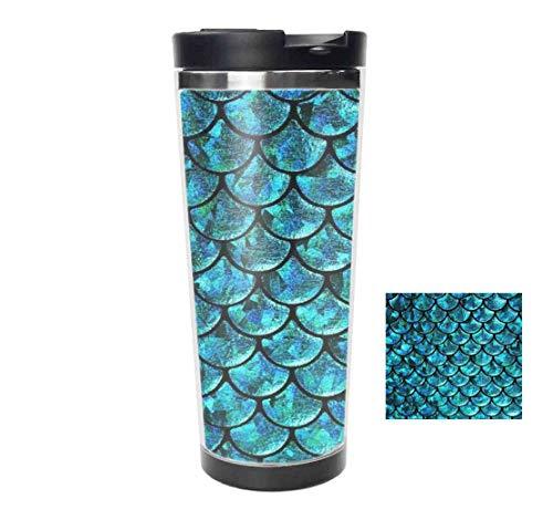 Travel Tumbler - Mermaid Scale Stainless Steel Vacuum Travel Mugcoffee mug cup - Thermal Cup with Splash Proof Sliding Lid 14oz