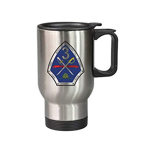 Vintag 3rd Recruit Training Battalion Marine MCRD Parris Island Military 14 Ounce Stainless Steel Vacuum Travel Mug In-Car Mug Silvery