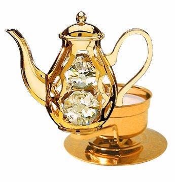 Coffee Pot Tea-light.. With Clear Swarovski Austrian Crystal