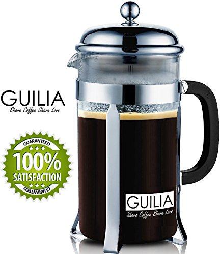 French Coffee Press & Espresso Maker 8 Cup/34oz, 2 Bonus Replacement Filters From Guilia, Borosilicate Glass Pot
