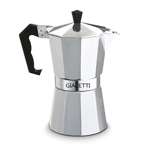Gialetti Stovetop Espresso Pot - 6 Espresso-cup Italian Coffee Maker - Silver Color