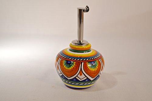 Authentic Deruta Ceramic Olive Oil Decanter Orange