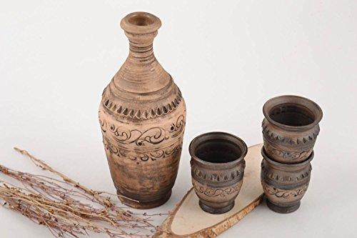 Beautiful Handmade Ceramic Decanter 500 Ml And 3 Glasses Of 50 Ml Each