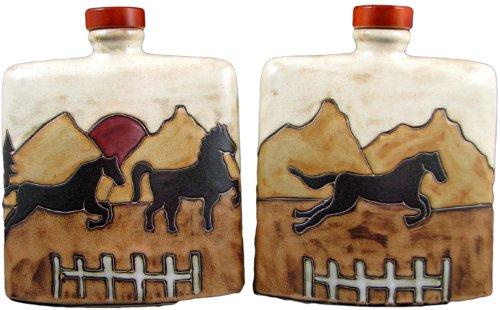 Mara Ceramic Stoneware 24 Oz Equestrian Horses Square Decanter