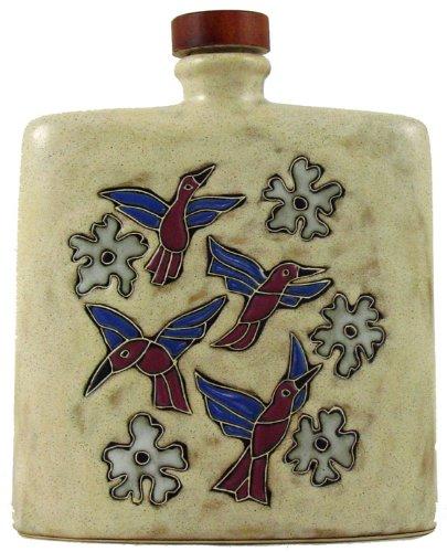 Mara Ceramic Stoneware 24 Oz Hummingbird Tan Square Decanter