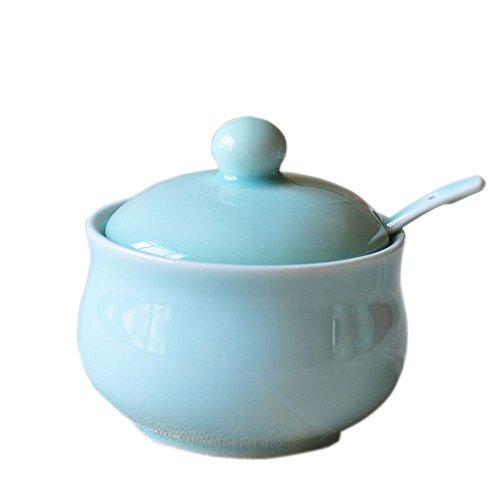 Ceramic Story Celadon Porcelain Sugar Bowl with Lid and SpoonCondiment Pot 95x85 cm Blue
