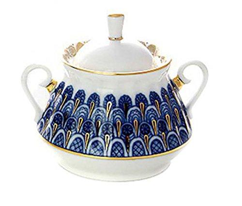 Lomonosov Porcelain Sugar Bowl Forget Me Not 10 floz300ml