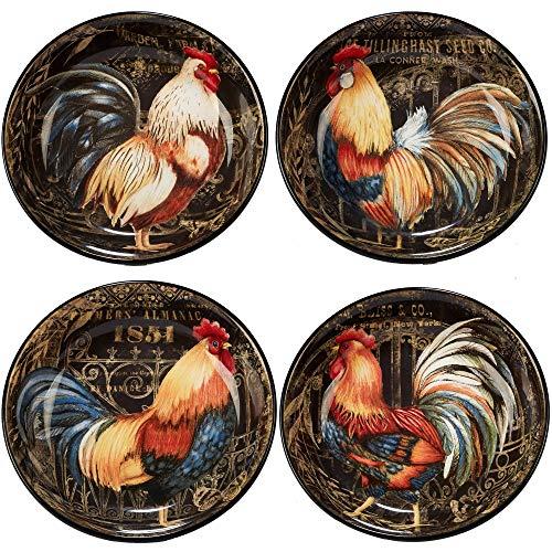 Gilded Rooster SoupPasta Bowls Set of 4 Black Multi Color Ceramic 4 Piece Dishwasher Safe Microwave