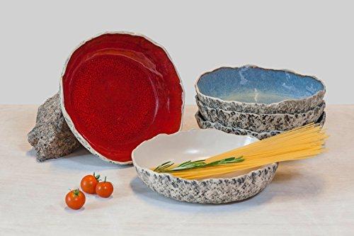 SPECIAL OFFER of 12 handmade stoneware ceramic pasta bowl set salad bowl set Soup bowl set Large serving bowl set Christmas and Wedding gift