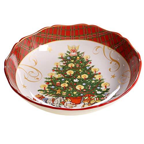 Vintage Santa ServingPasta Bowl Green Multi Color Red Ceramic 1 Piece Dishwasher Safe