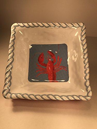 Tommy Bahama Square Melamine Salad Bowls Lobster Nautical Rope Edge 7 Set of 4