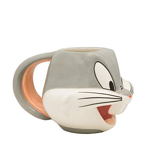 Silver Buffalo LT12273D Looney Tunes Bugs Face Ceramic 3D Sculpted Mug 22-ounces GrayWhite