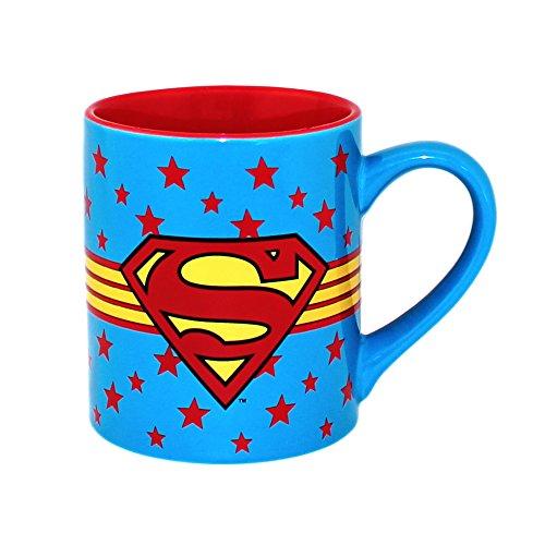 Silver Buffalo SP9632 DC Comics Superman Logo Wrap Around with Star Ceramic Mug 14-Ounces