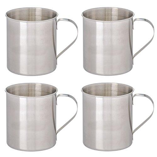 Thirsty Rhino Seles Stainless Steel Moscow Mule Mug Brushed Silver Finish 12 oz Set of 4