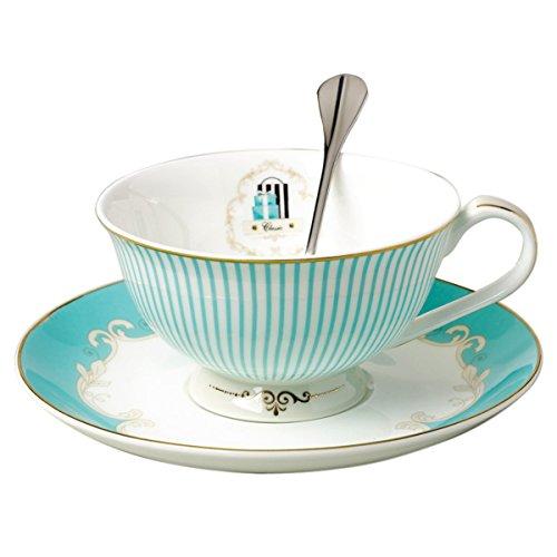 Jusalpha Vintage Blue Bone China Teacup Spoon and Saucer Set TCS01