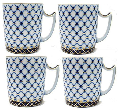Set of 4 Fine Porcelain Russian Cobalt Blue Net Coffee Mug  Tea Cup 24k Gold Accents Bone China Saint Petersburg