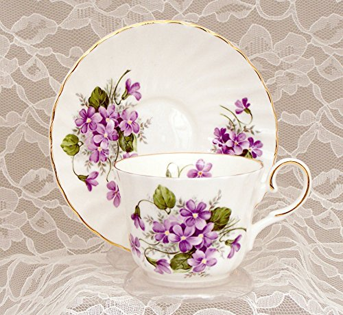 WILD VIOLETS Fine English Bone China Cup and Saucer
