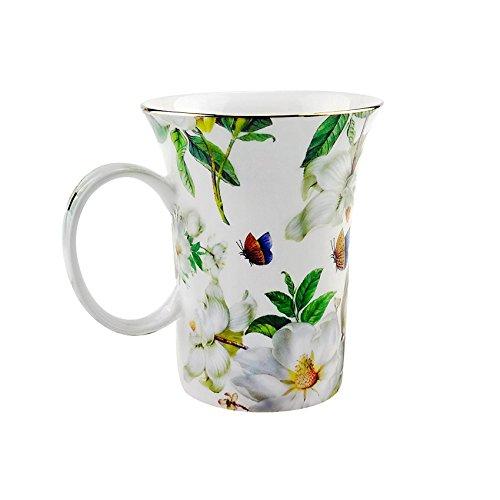 ufengke Creative European Bone China Cup Ceramic Coffee Mugs-Green Leaf White Camellia Flower