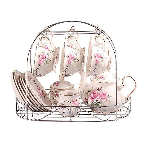 ufengke European Bone China Golden Camellia Printed Ceramic Porcelain Tea Cup Set With Lid And Saucer