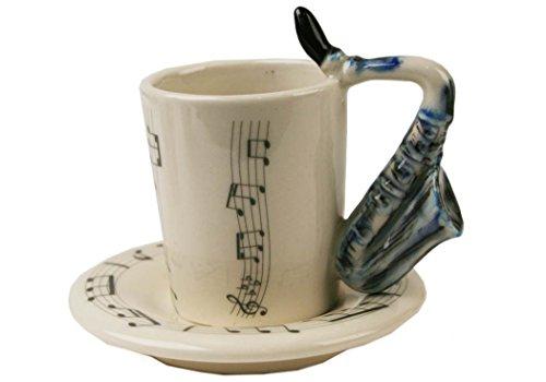Saxophone 2oz Blue Handmade Ceramic Espresso Cup 8cm x 5cm