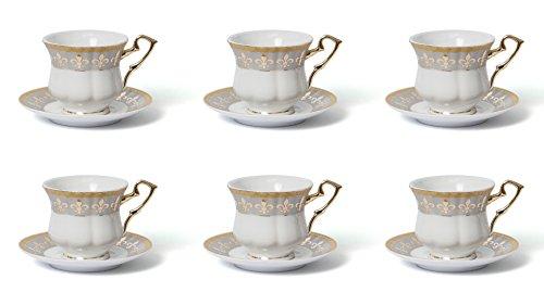 Joseph Seigh GPLA01-12T 7 Oz Fine Porcelain Tea Coffee Cups Saucers Bone China Teacups Set Ceramic Coffee Cups wSaucers Service for 6